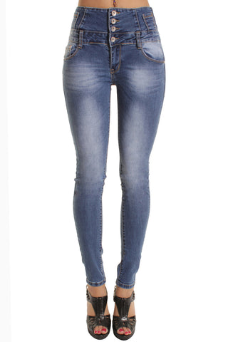 Blue Faded Finish Design High Waist Skinny Jeans