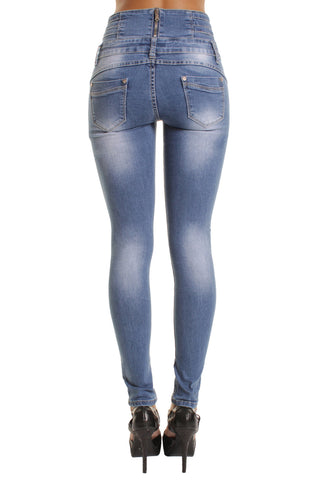 Blue Zip Embellishment High Waisted Skinny Jeans
