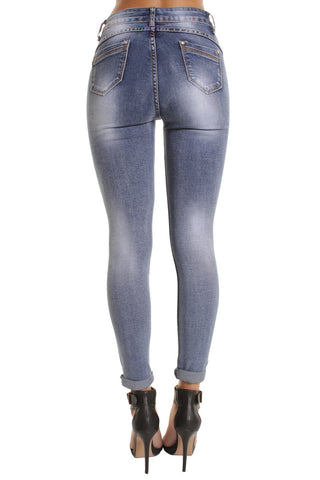 Blue High Waisted Bleached Skinny Jeans