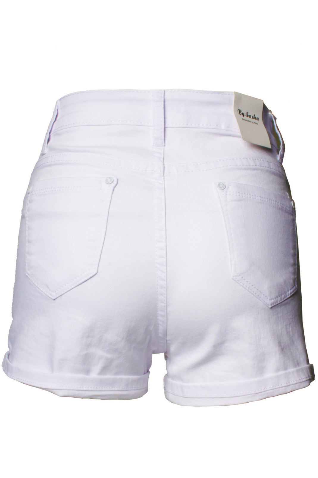 White 5 Pocket High Waist Mini Shorts