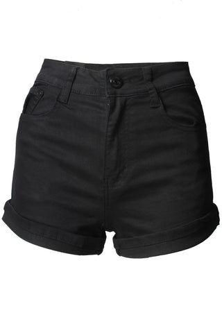 Black 5 Pocket High Waist Mini Shorts