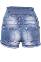 Stonewashed Blue Elasticated High Waist Shorts