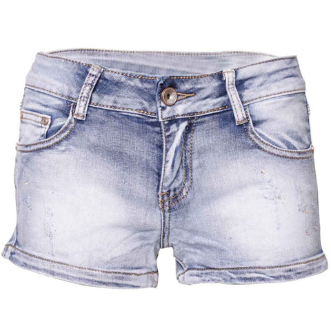 Acid Wash Mid Waisted Diamonds Embellishment Shorts