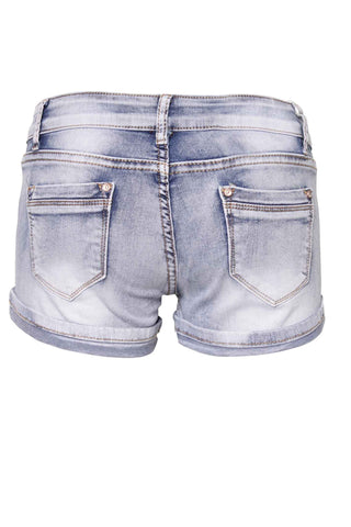 Acid Wash Waisted Diamonds Embellishment Shorts