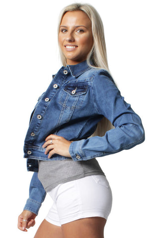 Washed Blue Long Sleeve Denim Jacket