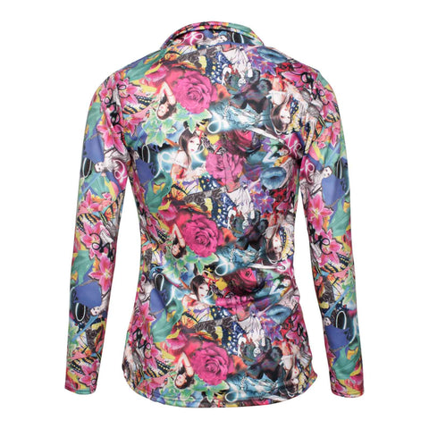 Pink Art Print Long Sleeve Blazer