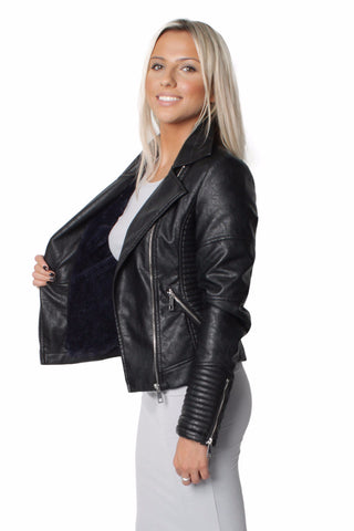 Chiara Winter Black Faux Fur Short Biker Jacket