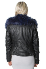 Chiara Faux Blue Fur Short Biker Jacket
