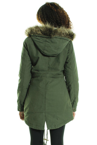 Khaki Fur Leopard Pattern Hooded Parka