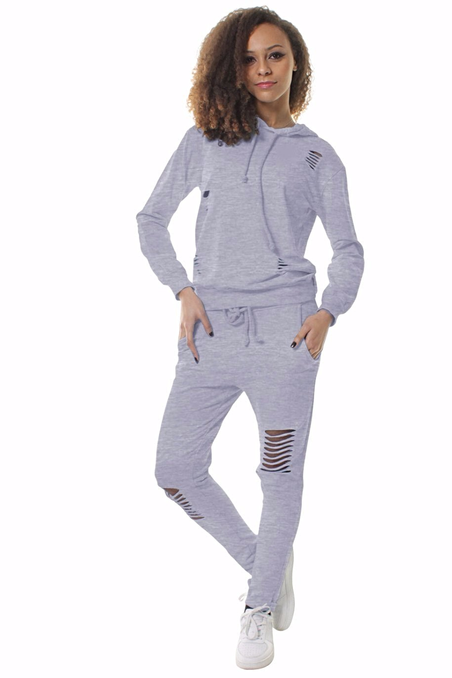 Extreme Rip Hooded Grey Loungewear Set