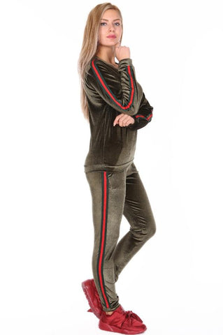 Velour Side Stripe Contrast Loungewear Set