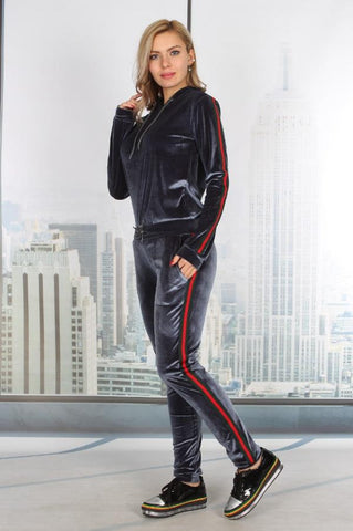 Velvet Side Stripe Contrast Hooded Leisure Suit