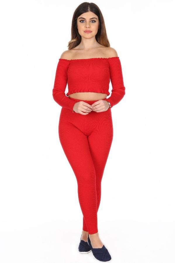 Ribbed Fine Knit Fabric Off Shoulder Cropped Top and Legging Leisure Suit