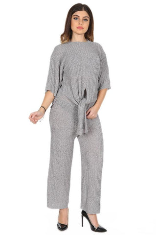 See Through Tie Up Ribbed Knit Leisure Suit