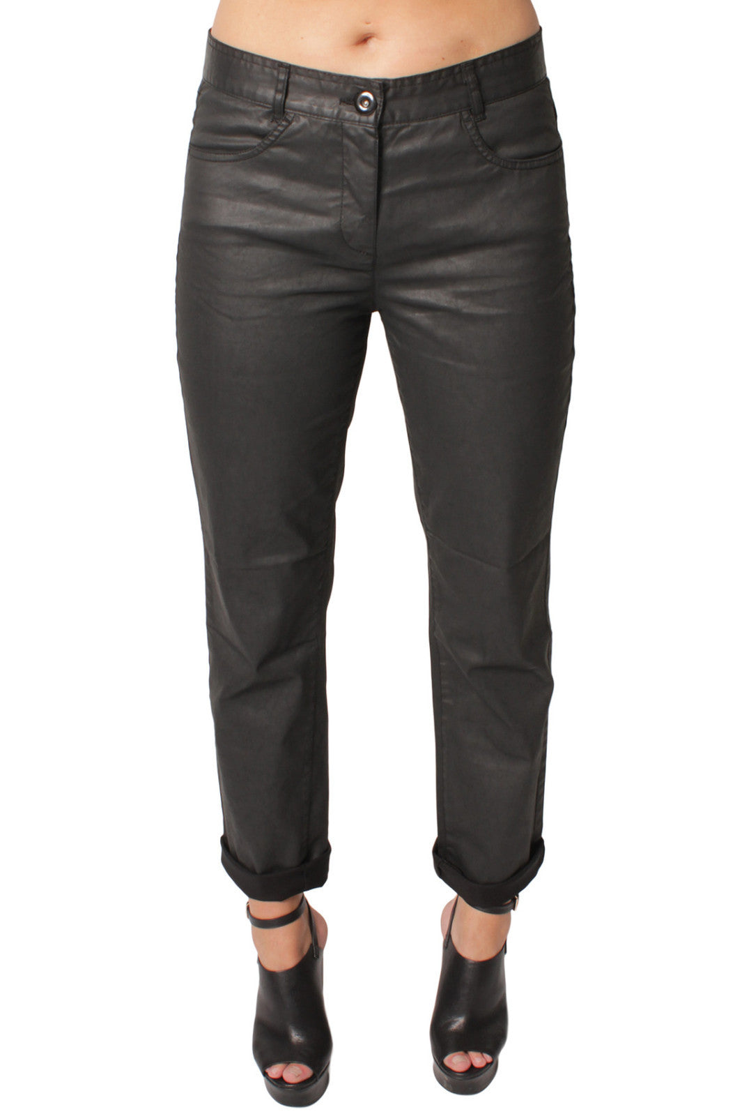 Black Leather Look Jeans