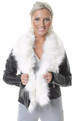 Chiara White Faux Fur Short Biker Jacket