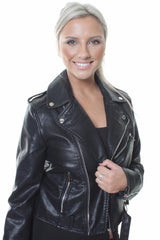 Vintage Matt Finish Leather Look Black Biker Jacket