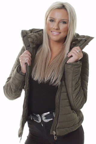 Khaki Faux Fur Collar Padded Jacket
