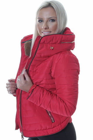 Red Faux Fur Collar Padded Jacket