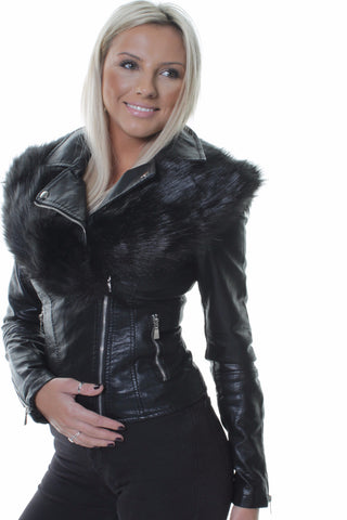 Faux Fur Black Shawl Short Biker Jacket