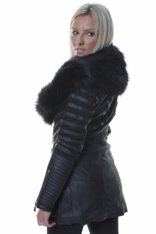 Rachel Faux Black Fur Long Biker Coat