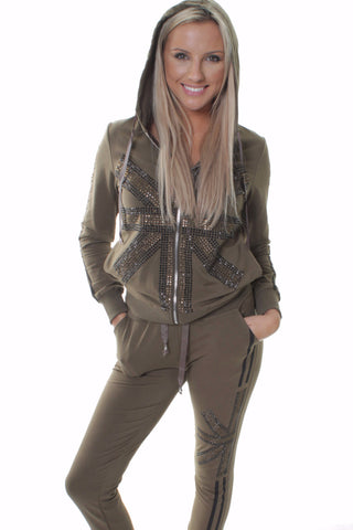 British Flag Embellishment Design Khaki Tracksuit Set