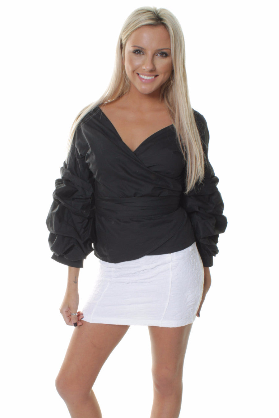 Black Tango Ruffled Wrap Up Blouse