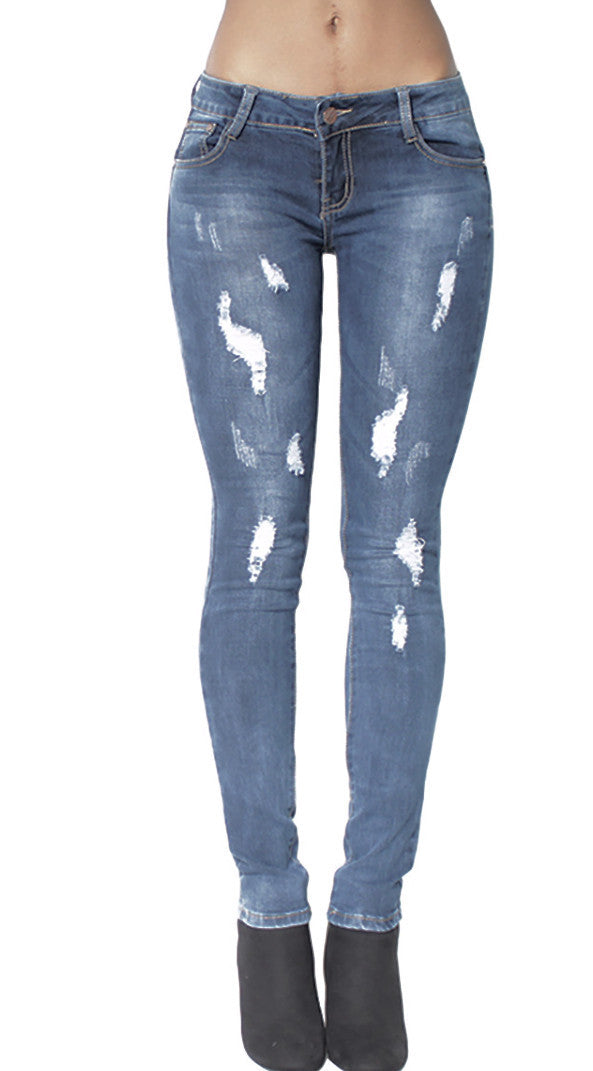 Stone Washed Denim Distressed Ripped Jeans