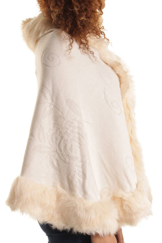 Cream Fur Trimmed Cape