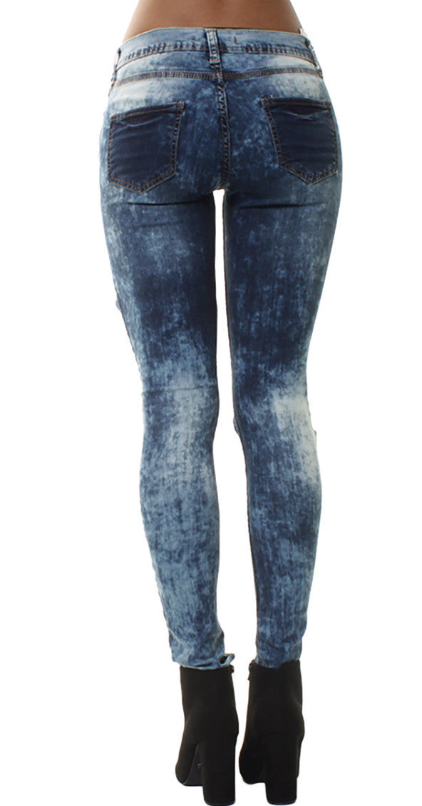 Denim Acid Wash Patchy Ripped Jeans