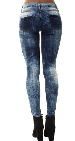Dark Blue Sown Patch Rip Jeans