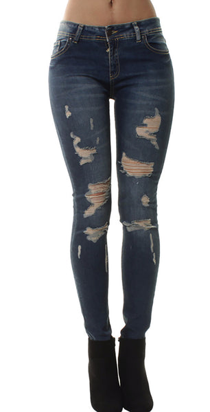 Denim Stone Washed Extreme Ripped Jeans
