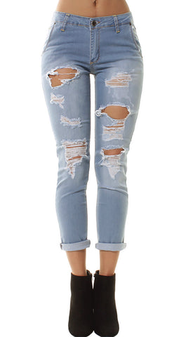 Light Denim Wash Extreme Ripped 3/4Jeans
