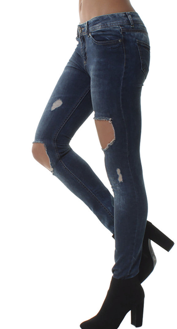 Denim Stone Washed Patchy Ripped Jeans