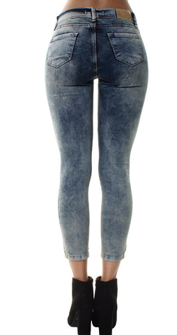 Acid Wash 5 Pocket Extreme Ripped Skinny Jeans