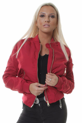Red Classic Bomber Jacket with Zip Pockets