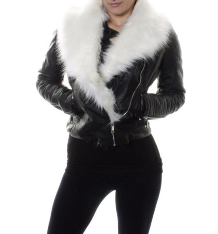 Chiara Winter White  Faux Fur Short Biker Jacket