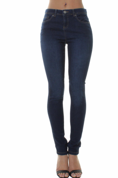 Denim Stone Wash High Waisted Skinny Jeans