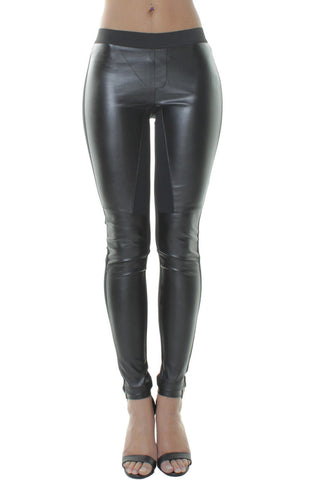 Black Biker Faux Leather Leggings