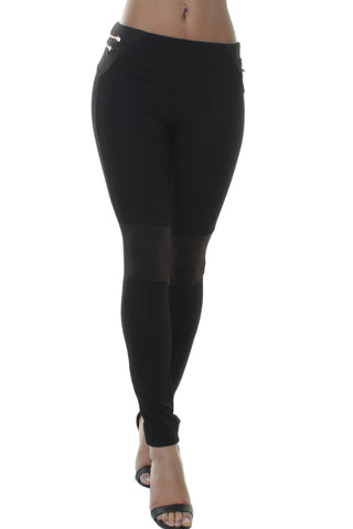 Black Ribbed Knee Panel Leggings