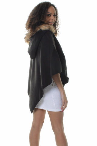 Black Lana Wool Blend Asymmetric Cape Poncho