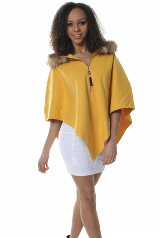 Mustard Lana Wool Blend Asymmetric Cape Poncho