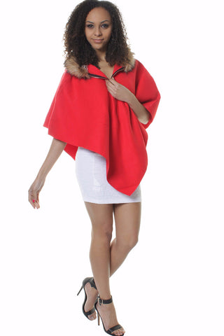 Red Lana Wool Blend Asymmetric Cape Poncho