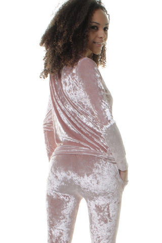 Dusty Pink Crushed Velvet Co-Ordinate Set