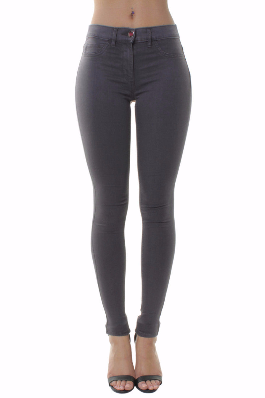 High Waisted Dove Grey Skinny Jeans