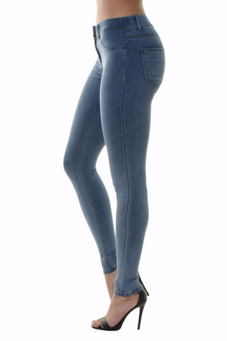High Waisted Light Denim Skinny Jeans
