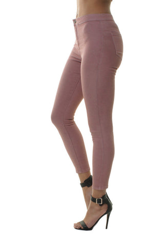 Dusty Pink High Waisted 7/8 Skinny Jeans Jeggings