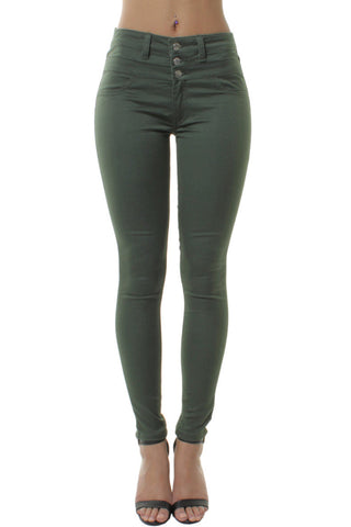 Green High Waisted 3 Buttons Skinny Trousers