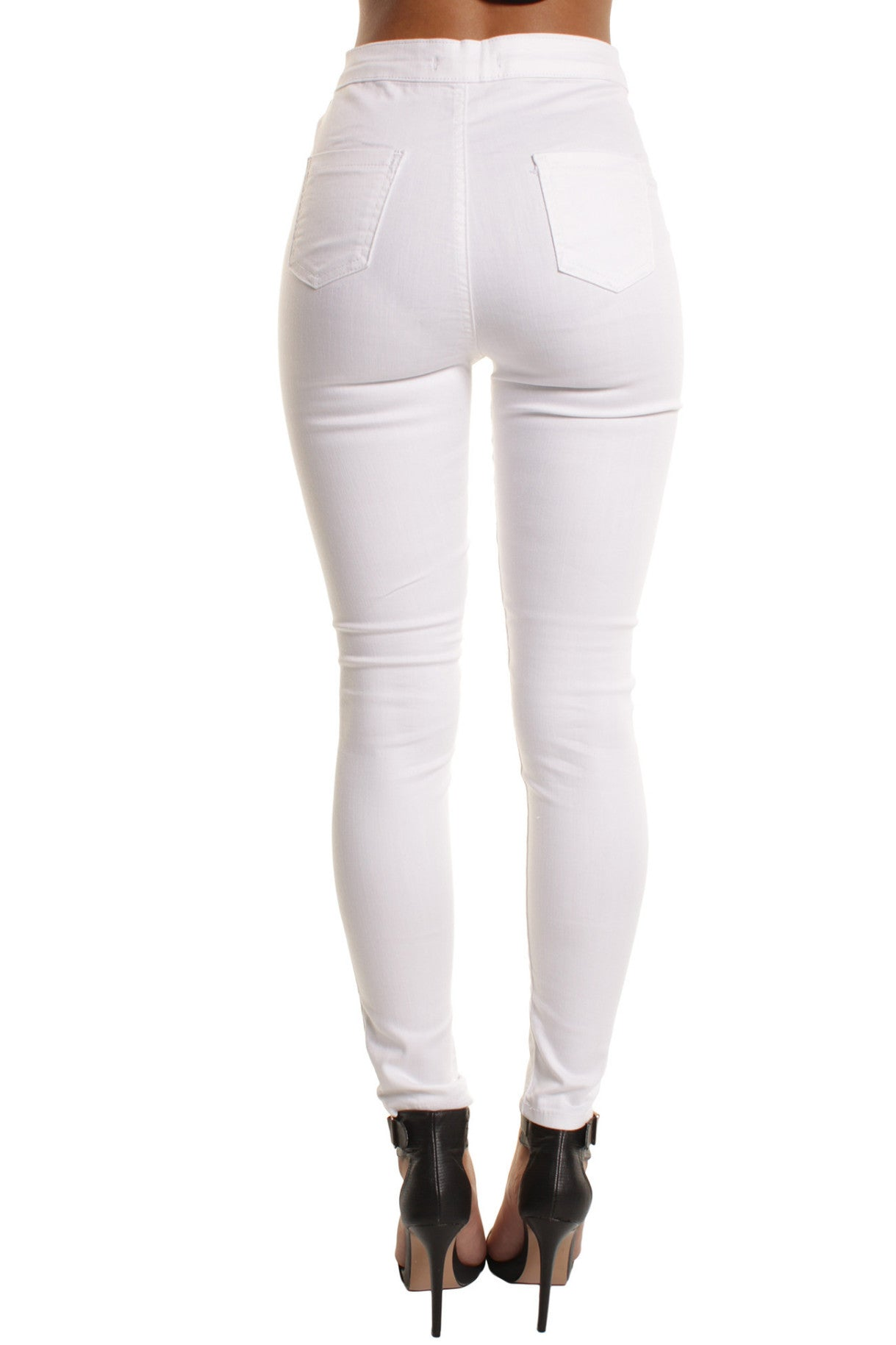 White High Waisted Ripped Knee Skinny Jeans