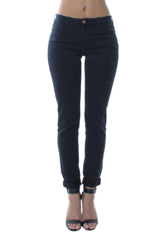 Navy Mid Rise Mom Style Slim Fit Casual Jeans